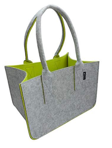 Tebewo Shopping Bag aus Filz, große Einkaufs-Tasche mit Henkel, Einkaufskorb, Faltbare Kaminholztasche zur Aufbewahrung von Holz, vielseitige Tragetasche auch für Spielzeug, grau/gelb