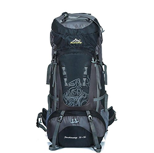 75L + 5L Grand Waterproof Camp Randonnée Backpack Voyage Teengers Alpinisme Escalade Sacs Pack pour Hommes Femmes , black
