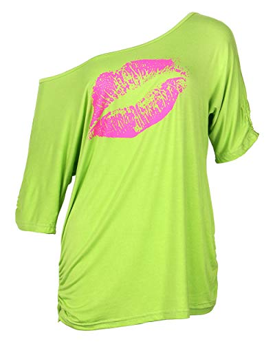 Smile Fish Women Casual Oversized Sexy Lips Print Off Shoulder T-Shirt (XL, Neon-Green)