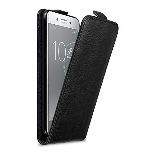 Cadorabo Hülle für Sony Xperia XZ Premium in Nacht SCHWARZ - Handyhülle im Flip Design mit Magnetverschluss - Hülle Cover Schutzhülle Etui Tasche Book Klapp Style