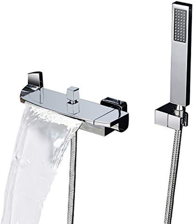 KunMai Wall Mount Waterfall 2-Handle Chrome Black Bath Filler Mixer Tap with Hand Shower (Chrome)