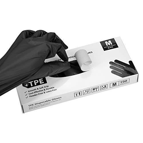 OKIAAS Black Plastic Gloves Disposable Medium, 100 Counts, Latex-Free, Thin and Loose-Fitting TPE Gloves for Food Prep, Cooking, Hair Dying
