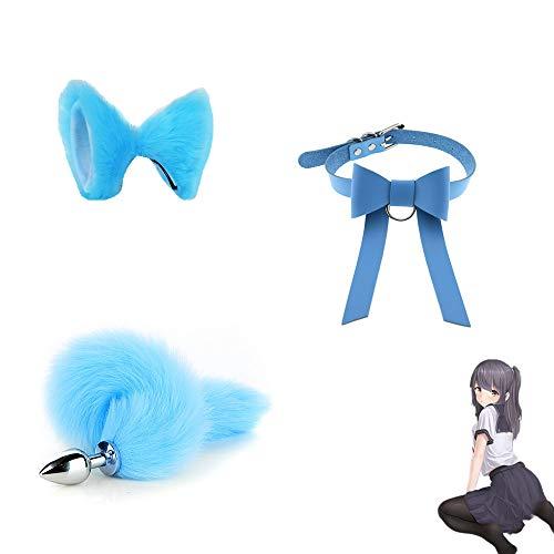 Happiness '' Key '' - Lindo Conjunto de Cola de Orejas de Zorro con Collar Bowknot Regalo Preferido de Juego de Roles para Parejas - Azul