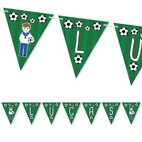 Guirnalda Primera Comunión fútbol niño con traje marinero. Guirnalda decorativa con nombre.