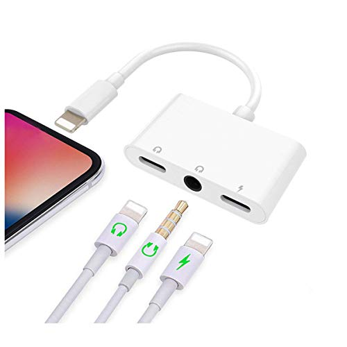GEOP Compatible for iPhone X iPhone Xs/Xs Max iPhone 8/8Plus iPhone 7/7Plus 3 in 1 Headphone Splitter with 3.5mm Headphone Jack Audio Adapter Fast Charge Splitter (White)