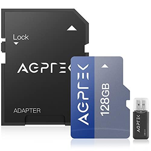 AGPTEK 128GB Karte mit Kartenleser, TF Karte kompatibel mit Smartphone, GPS, Tablet PCs, Digitalkameras und jedem MP3, Schwarz und Blau