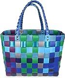 normani Einkaufstasche geflochten mit Henkeln - Tragetasche extra robust Farbe Classic/Sky