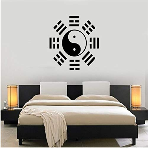 Etiqueta De La Pared Filosofía China Oriental Pegatinas De Pared De Vinilo Wallpaper Yin Yang Taiji Tatuajes De Pared Cultura China Decoración Mural Dormitorio 42X42 Cm