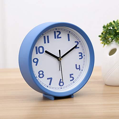 ZBNZ Sencilla pequeña alarma Asiento de reloj Silencio Tabla encimera de estar Decoración del aula Estudiante dormitorio de noche decoración del hogar (Color : B)
