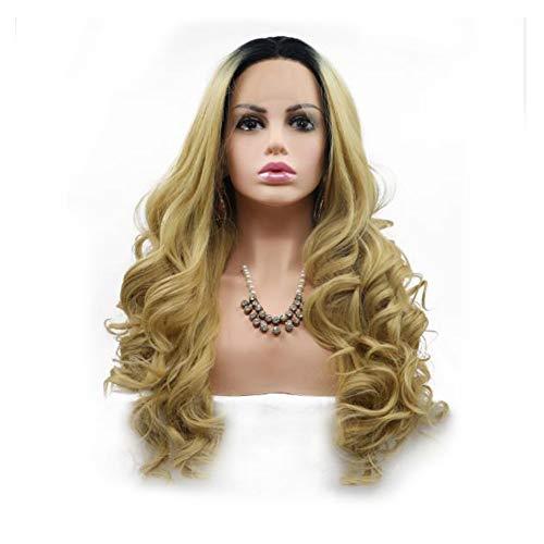 Lace Front Synthetische Pruiken Donkerblond Lang Haar, Krullend Hittebestendig Lijmloze Haar Cosplay Pruik Voor Vrouwen 150% Dichtheid 24 Inch Voor Vrouwen,24inch