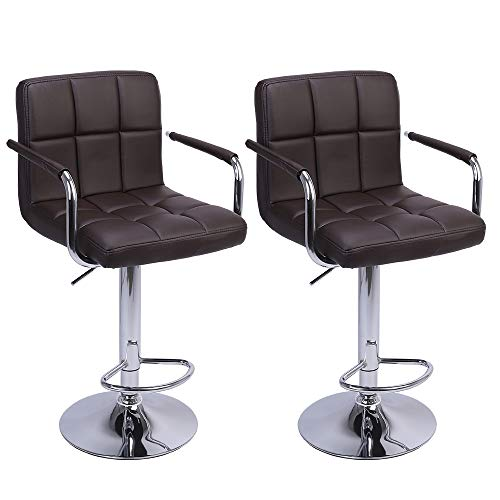 ARDA Stools Modern Square Counter Height Barstool PU Leather Swivel Adjustable Bar Stool with Armrest Set of 2(Coffee)