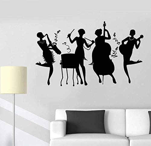 Muursticker muursticker muurschildering huisdecoratie art vinyl muursticker jazz band club meisjes muziek retro stijl muursticker verwijderbare muziek stijl kunst muurschildering 70 * 42 cm