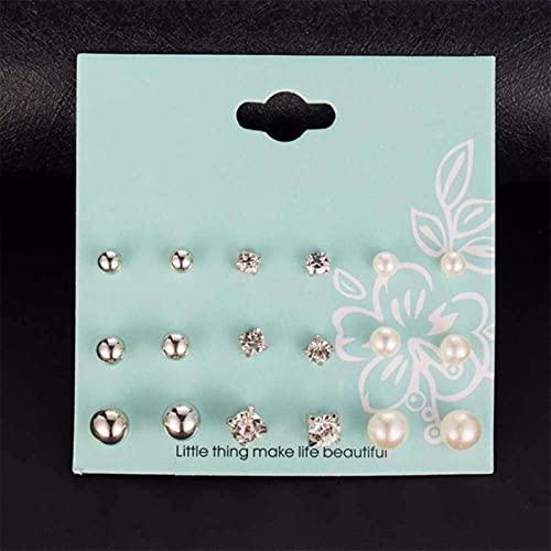 CXWK 12 Pares/Juego de Pendientes de Perlas simuladas para Mujer, joyería, Pendientes de botón de Moda