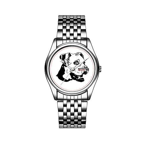 Reloj de lujo para hombre, 30 m, impermeable, fecha, reloj de pulsera deportivo para hombre, reloj de pulsera de cuarzo, casual, regalo, bóxer americano, perro, brillantes, color negro esmaltado