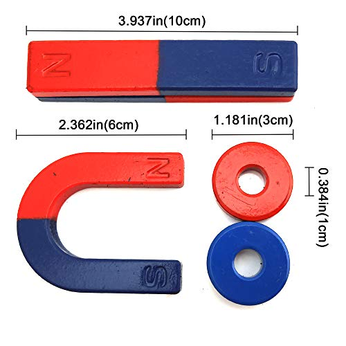 EUDAX Physics Science Magnets Kit for Education Science Experiment Tools Icluding Bar/Ring/Horseshoe/Compass Magnets