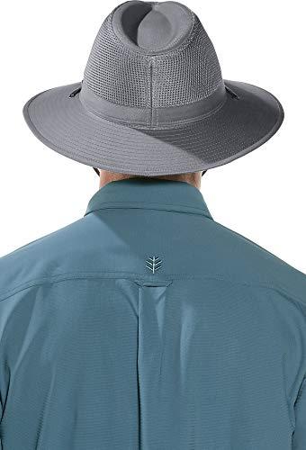 Coolibar UPF 50+ Men's Kaden Crushable Ventilated Hat - Sun Protective (Small/Medium- Smoke Grey)