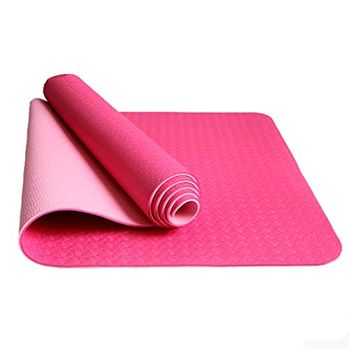 WZHIJUN Yoga Mats Beginner 8mm Non-Slip Double Layer Two-Tone Sports Mat Pilates and Floor Mats (Color : Pink, Size : 183×61×0.8cm)