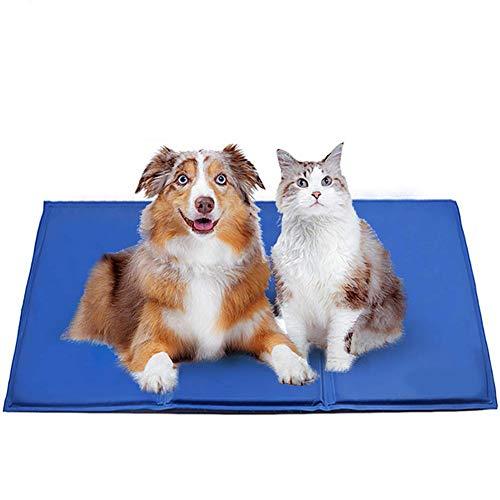 Alfombrilla de refrigeración para perro, tamaño grande para la cama, alfombrilla de hielo para perro o gato con gel de auto-refrigeración, ideal para mantenerse fresco verano, 0, L(90 * 50cm)