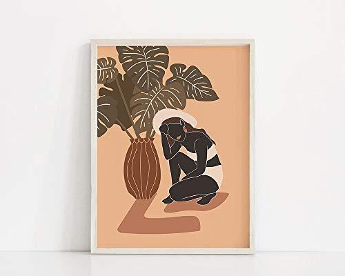 Planta Mujer Lámina Mujer y Monstera Póster Cartel minimalista de terracota y rosa Familia sin marco Decoración A3 50x70cm