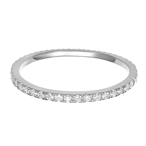 PAVOI AAAAA CZ Sterling Silver Cubic Zirconia Stackable Eternity Ring - 5