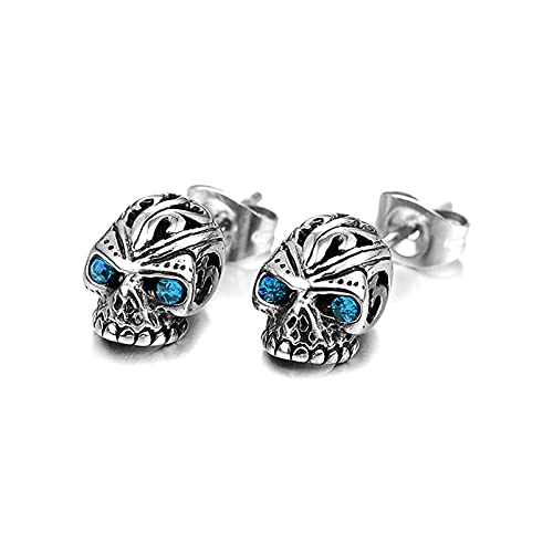 Fusamk Punk Rock Titanium Steel Flower Pattern Crystal Eye Skull Stud Earrings