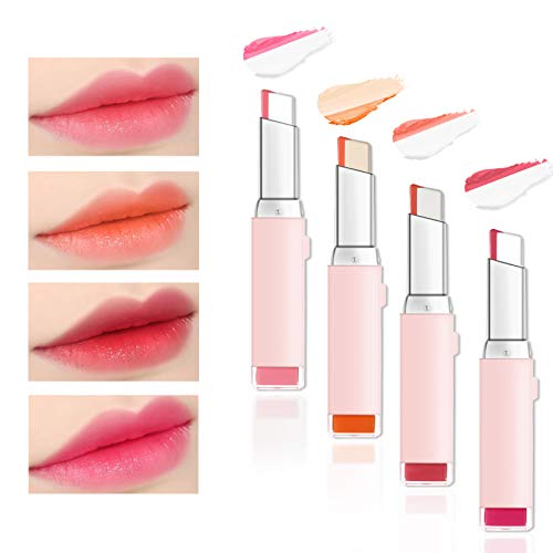 Freeorr 4 Colors Gradient Two Tones Lippenstift, Gradient Bitting Lips V Cutting Double Color Candy Flavor Silky Moisturzing Nourishing lipsticks Two Colors Combination Lipgloss( Set A)