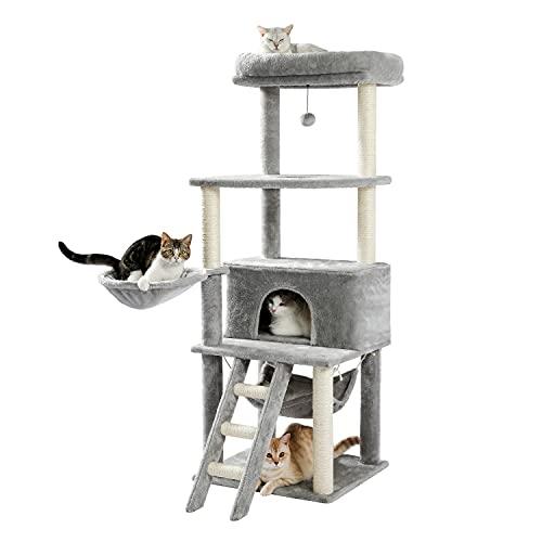 Amazon Brand – Umi Árbol de Gatos Muebles de árbol de Felpa de Varios Niveles para Gatos de tamaño Mediano 1 Centro de Actividades para Gatitos Condominio Extra Grande 153 cm Gris