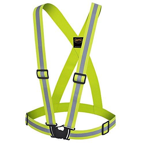 Pioneer Adjustable Slim Lightweight Premium High Visibility Safety Vest Sash, Refelctive Stripe, Yellow-Green, V1041060-O/S