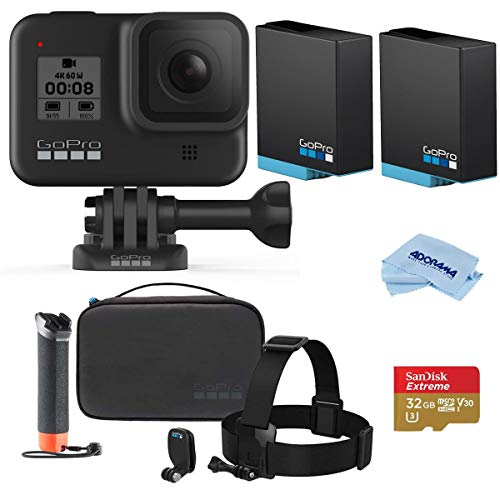 GoPro HERO8 Black, Waterproof Action Camera with Touch Screen 4K UHD Video 12MP Photos, Pro Bundle with GoPro Adventure Kit, 2 Extra Batteries, 32GB microSD Card, Microfiber Cloth