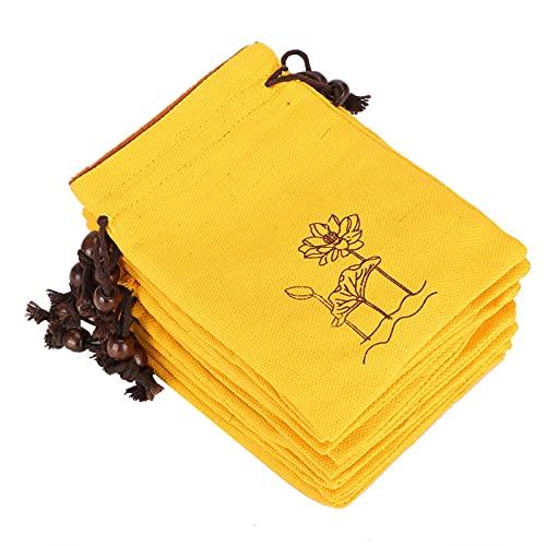 Münzgeldbörse Kosmetiktasche Kordelzug Taschen für die Reise für Mascara Lippenstift Geschenkbeutel(Orange-yellow lotus)