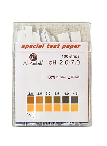 Al-Ambik PH Indikatoren PH 2-7 - 100 PH Teststreifen mit Farbtabelle