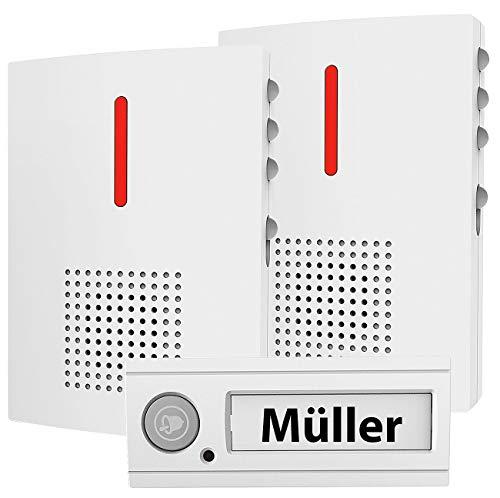 CASAcontrol Türgong: Funk-Türklingel + 2 Empfänger, Licht & Ton Signal, IPX4, weiß (Funkklingel Design)