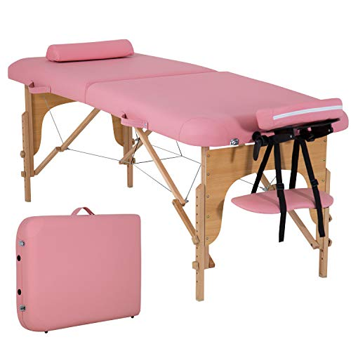 """Portable Massage Table Massage Bed Spa Bed 73"""" L 28""""W Height Adjustable Massage Table With Bolsters Carry Case 2 Fold Portable Salon Bed (Pink)"""