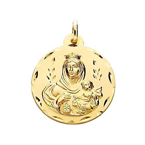 Medalla Oro 18K Virgen Del Carmen 24mm. Labrada Tallada [Aa2466Gr] - Personalizable - Grabación Incluida En El Precio