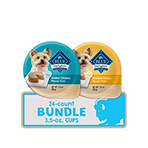 Blue Buffalo Delights Natural Adult Small Breed Wet Dog Food Cups, Pate Style, Roasted Turkey & Grilled Chicken 3.5-oz (24 Count – 12 of Each Flavor)
