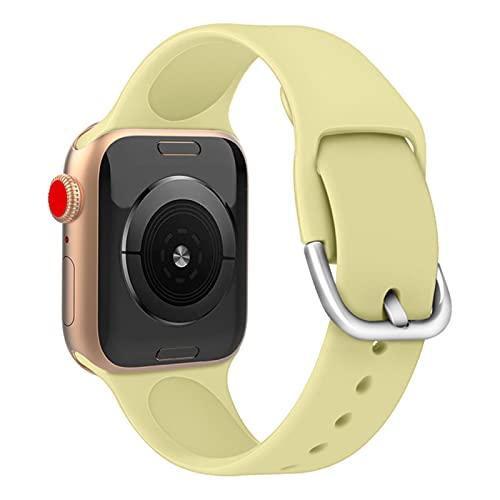2pcs Correa de reloj deportivo para Apple Watch Series 5 4 3 2 6 SE 38MM 42MM Correa de silicona Para iWatch 4/5/6 40MM 44MM Reemplazo de pulsera-Amarillo limón, Para 38 40mm ML
