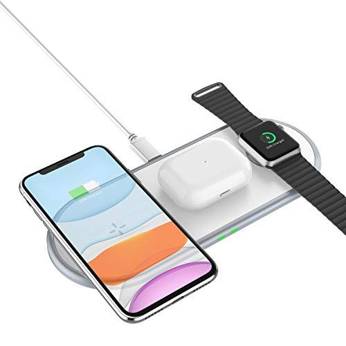 3 en 1 Cargador inalámbrico, 10W Fast QI Carga INALÁMBRICA para AIRPODS/Samsung S20 / S10 / S9 Nota 10 Carga de Carga inalámbrica Dock 3W Carga para Apple Watch