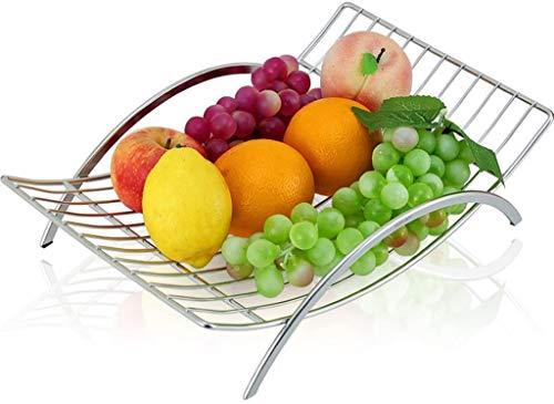 Accessoires voor thuis Silver Rechthoekige RVS fruitmand Hollow fruitschaal met een handvat 38 * 9,5 * 25.5cm