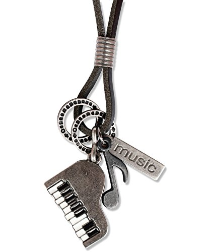 Ebsem Music Musical Instruments Necklace, Genuine Leather Cord Surfer Jewelry for Men & Women (Piano)