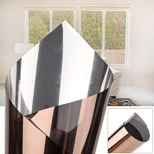 Hengda 90x200cm verspiegelte Folie Sonnenschutz selbstklebend Fensterfolie Sichtschutz und Hitzeschutz Sichtschutzfolie Spiegelfolie für Fenster Dunke Tee Silber