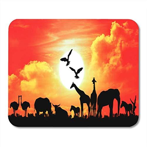Semtomn Gaming Mouse Pad Orange Afrikanische Safari in Afrika Silhouette von Wildtieren mit Sunset Bull Cow Dekor Büro rutschfeste Gummi Backing Mousepad Mouse Mat