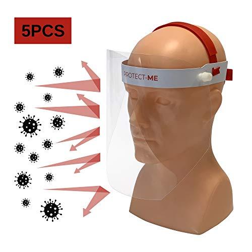 KLEMP - Visiera Protettiva Trasparente Facciale Chirurgica Medica [5 pezzi] Maschere Protettive Viso, Mascherine, Visiere In Plexiglass Made In EU. Maschera Di Protezione Totale Per Virus, Schizzi