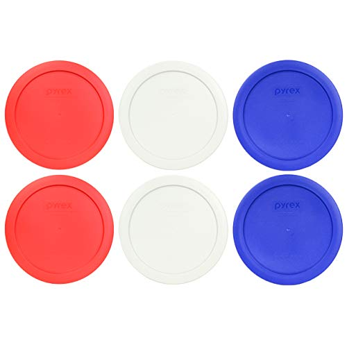Pyrex 7201-PC 4 Cup (2) Red (2) White (2) Cobalt Blue Round Plastic Lids - 6 Pack