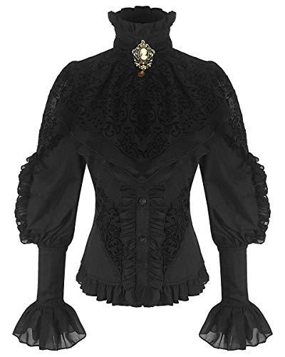 RQ-BL Schwarze viktorianische Damen Langarm-Bluse mit Jabot und oranger Brosche (21099), Größe:M