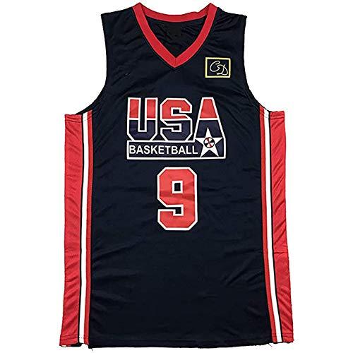 Jordan Retro # 9 Jersey, EE.UU. Camiseta de baloncesto para hombre (S-XXL) Vale la pena coleccionar camisetas clásicas y regalos para los fans de los hombres, Negro, M/L
