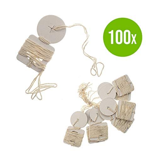 L+H 100x ÖKO Ballonverschlüsse mit Baumwollschnur für Helium Luftballons | ökologisch & biologisch abbaubar | Stabiler Schnellverschluss mit Band für Ballonflugkarten Verschluss für Party Ballons
