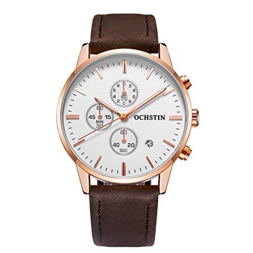 XY-QXZB Il puntatore dell'orologio del quarzo degli uomini mostra l'orologio impermeabile della cinghia di cuoio di movimento multifunzionale , 005