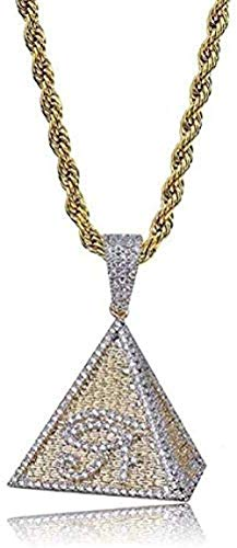 Necklace Classic Women Hip Hop Necklace Egyptian Pyramid Eye of Pendant Necklace ICY Enzisch Made of Micro Pavement Zircon Charm Necklace
