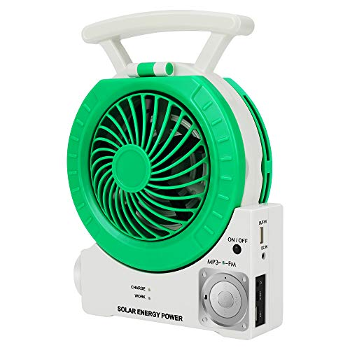 Multi-function Solar Fan Electric Outdoor Fishing Fan with Radio/MP3/Table Lamp/Torch/Cell Phone Charging Function for Camping Fishing and Hurricane Emergency (Green)