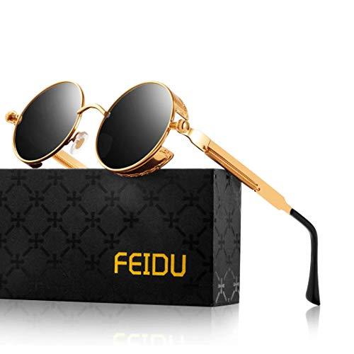 FEIDU Retro Vintage Runde sonnenbrille herren - Polarisiert mit rundem Metallrahmen,sonnenbrille damen FD 3013 (Y-Schwarz Gold, 1.81)